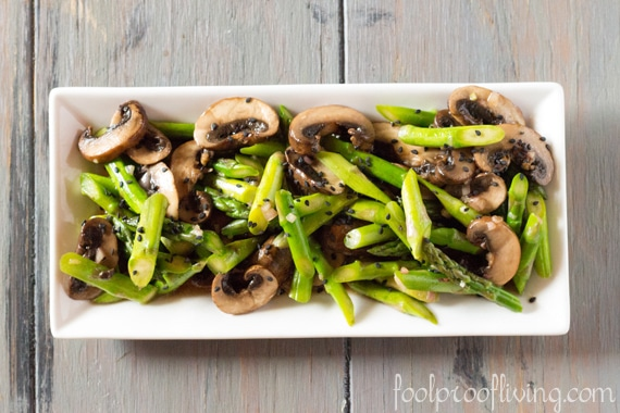 Asparagus and Portobello Mushroom Salad with Asian Dressing - Salad in the bowl