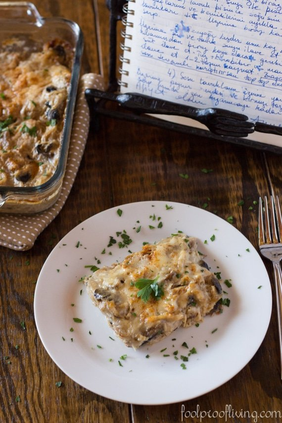 Chicken and Mushrooms with Bechamel Sauce