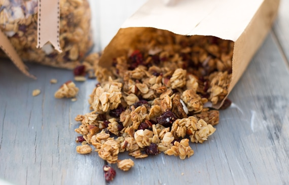 Homemade Crunchy Granola placed in a bag and photographed from the front view