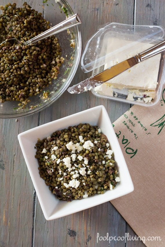 Lentil Salad with Olives and Feta Cheese - FoolproofLiving