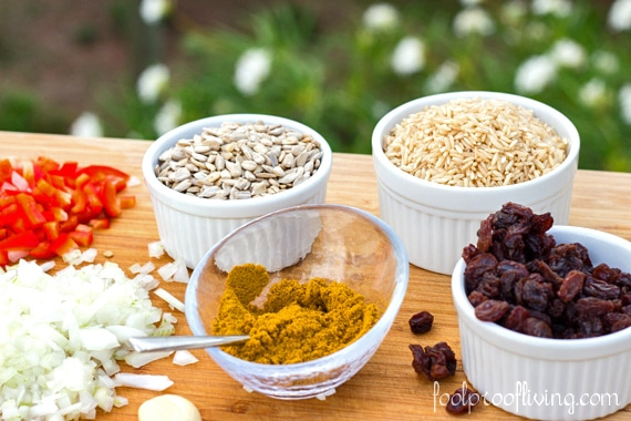 Brown rice curry ingredients