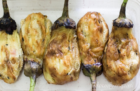 roasted Eggplants placed in a glass bowl