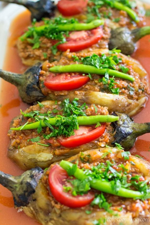 Stuffed Aubergine Turkish recipe in a plate