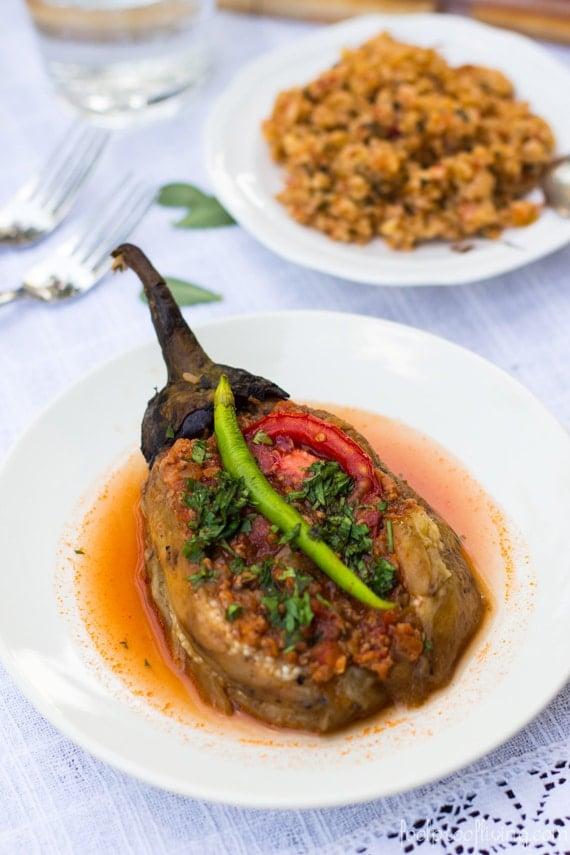 Turkish Stuffed Eggplant recipe in a large plate