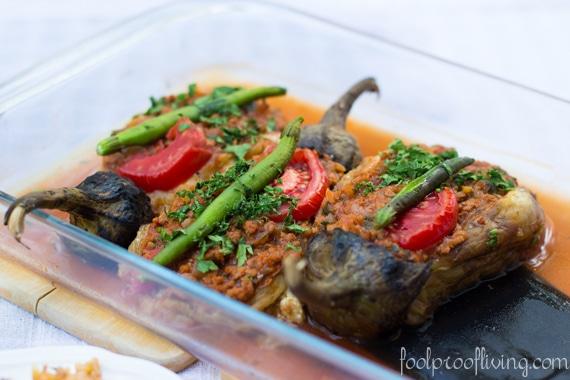 Karniyarik recipe placed in a glass casserole dish