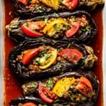 Turkish Stuffed Eggplant Recipe close up