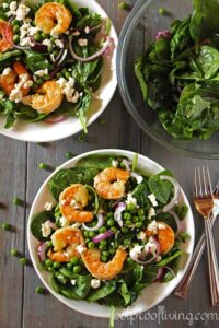 Spinach Shrimp Salad served in a large bowl