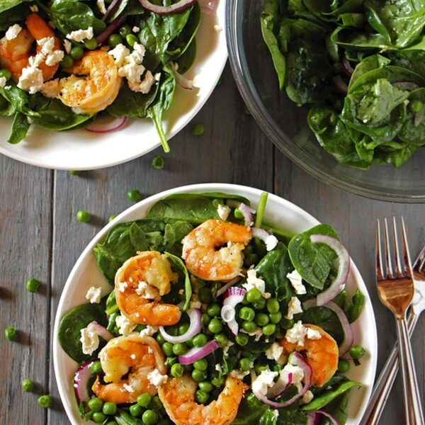 Spinach Shrimp Salad served in a large bowl