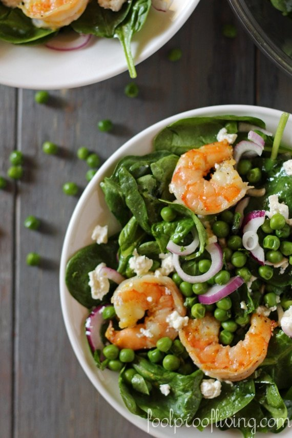 Spinach Shrimp Salad recipe in a plate