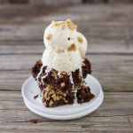 Cake flour brownies topped off with ice cream and nuts