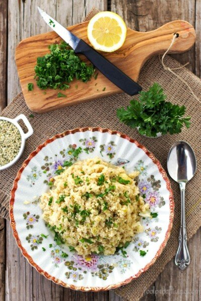 Cauliflower Risotto in a plate with a spoon on the side