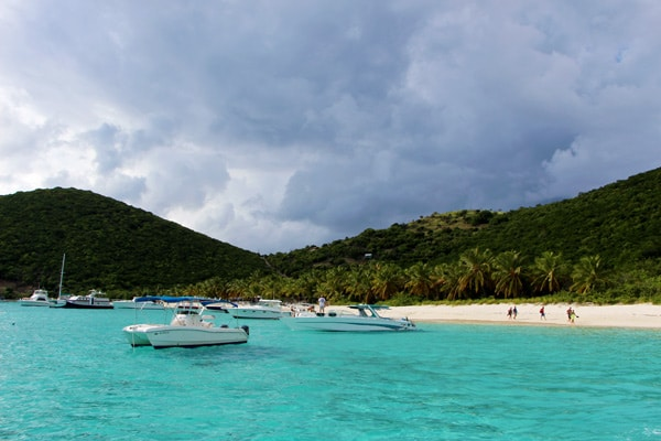 The beaches of Jost Van Dyke with people.