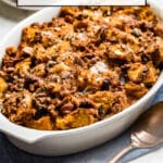 Pumpkin Bread Pudding freshly baked in a casserole dish