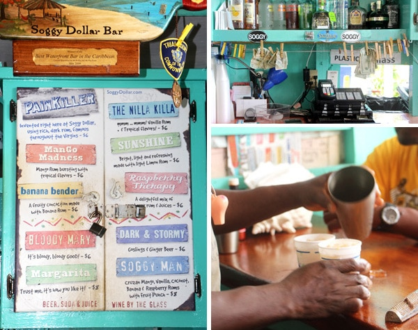 Soggy Dollar Bar in Jost Van Dyke (a man is making a drink)