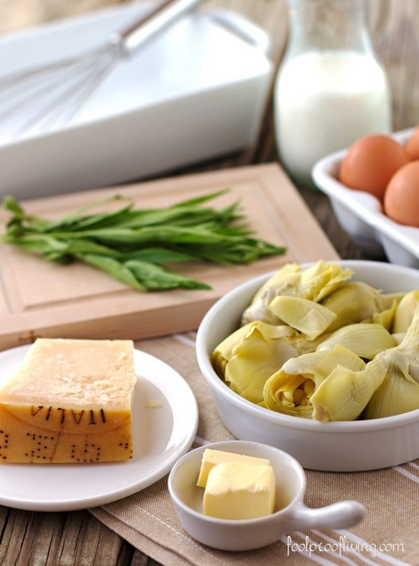 Eggs, Artichoke Hearts, Tarragon, and Parmesan with jar of milk in the background