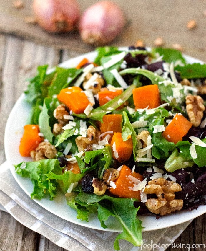 Close up shot of Roasted Butternut Squash Salad on a napkin