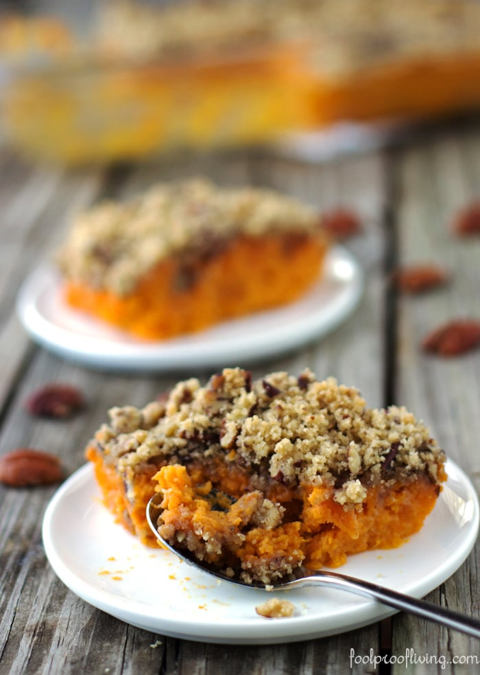 Half eaten Sweet Potato Souffle - The best recipe for your Thanksgiving Table