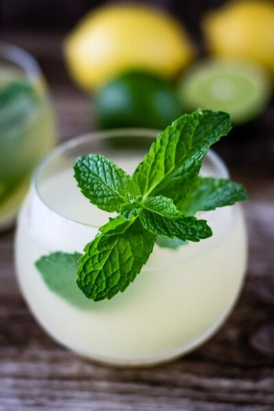 A cup of Ginger Iced Tea Recipe garnished with mint