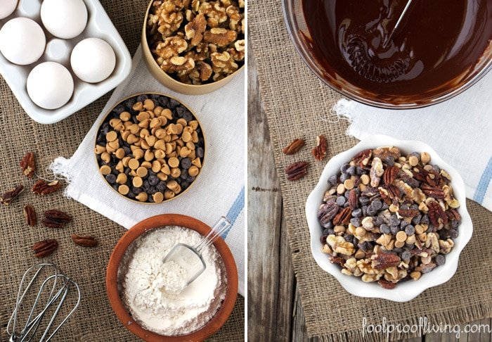 Ingredients for Barefoot Contessa's Chocolate Peanut Butter Globs from the top view