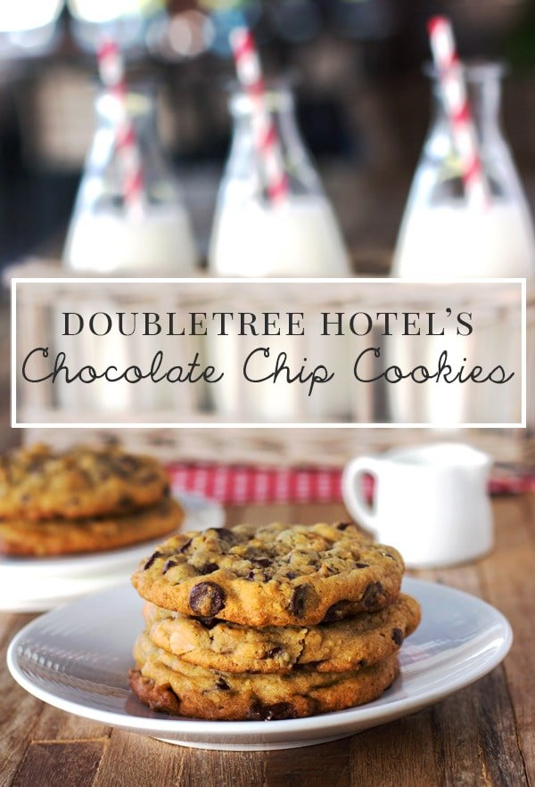 Doubletree Chocolate Chip cookies - a few cookies place on a plate