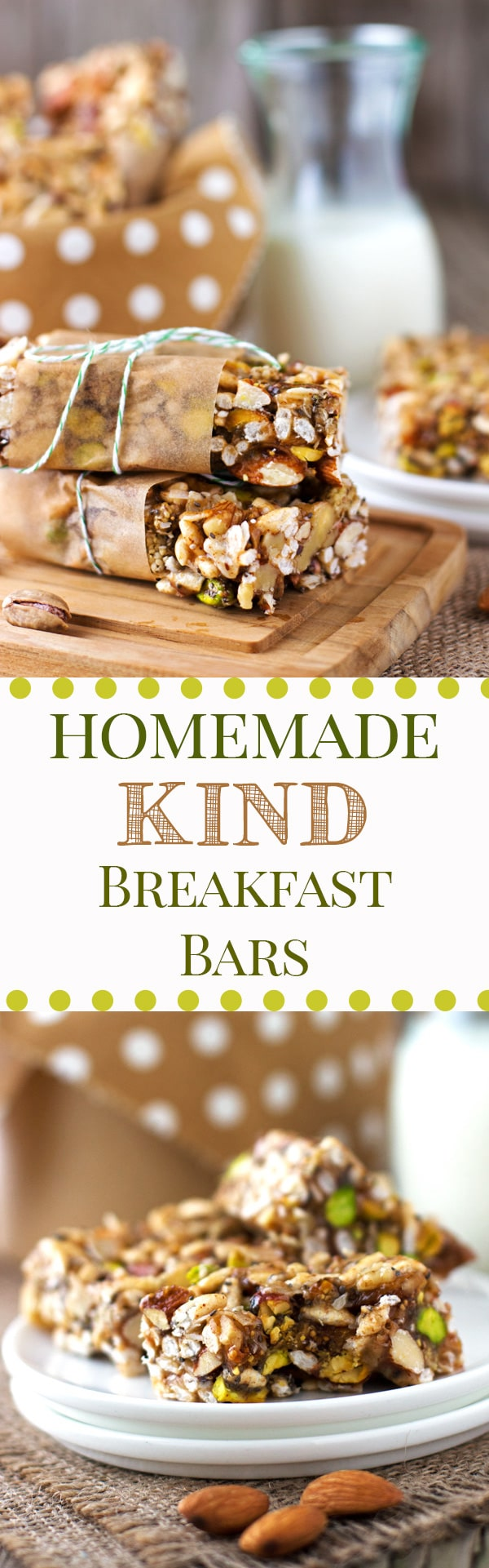 """Homemade """"Kind"""" Breakfast Bars : Have you ever wanted to make your own version of """"Kind"""" bar in your very own kitchen? This post gives you the formula to create VEGAN Homemade """"Kind"""" Breakfast Bars."""