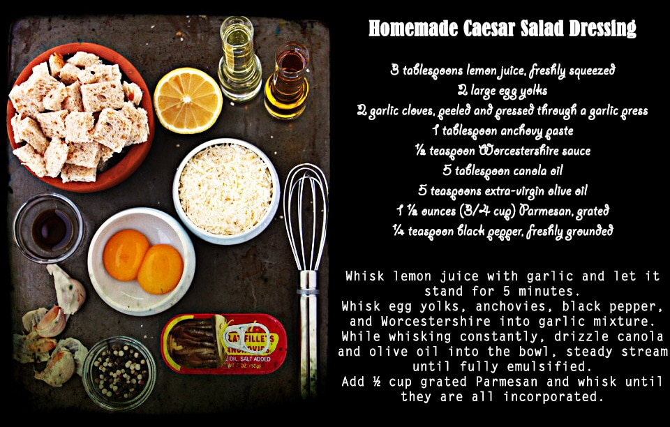 All ingredients and recipe for Classic Caesar Salad with a whisk