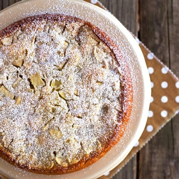 A whole French Apple Cake recipe photographed from the top view
