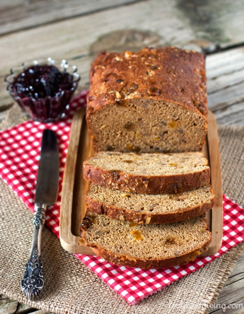 Yogurt and Molasses Bread with Walnuts and Dried Figs