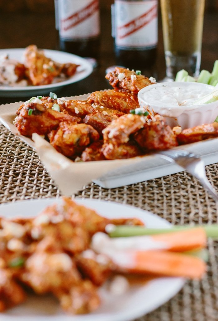 Oven Baked Chicken Wings with Hot Wing Sauce: A healthier way to enjoy chicken wings for any of your game day parties.