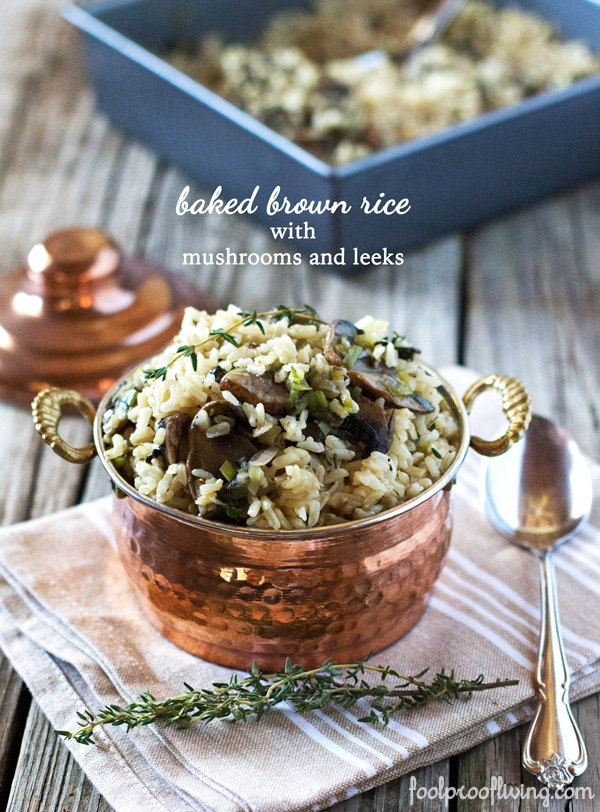 Baked Brown Rice with Mushrooms and Leeks