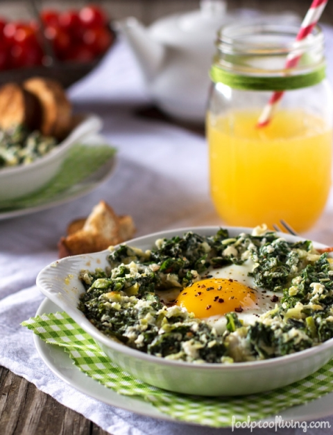 Baked Eggs with Kale and Leeks