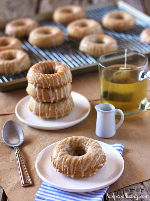 Barefoot Contessa Baked Donuts on a plate with tea in the background