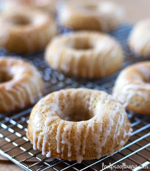 ina garten cinnamon baked donuts from  close up.