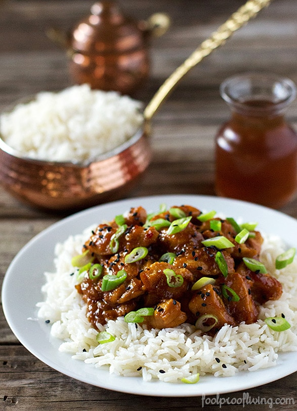 Spicy Orange-Ginger Chicken served over rice