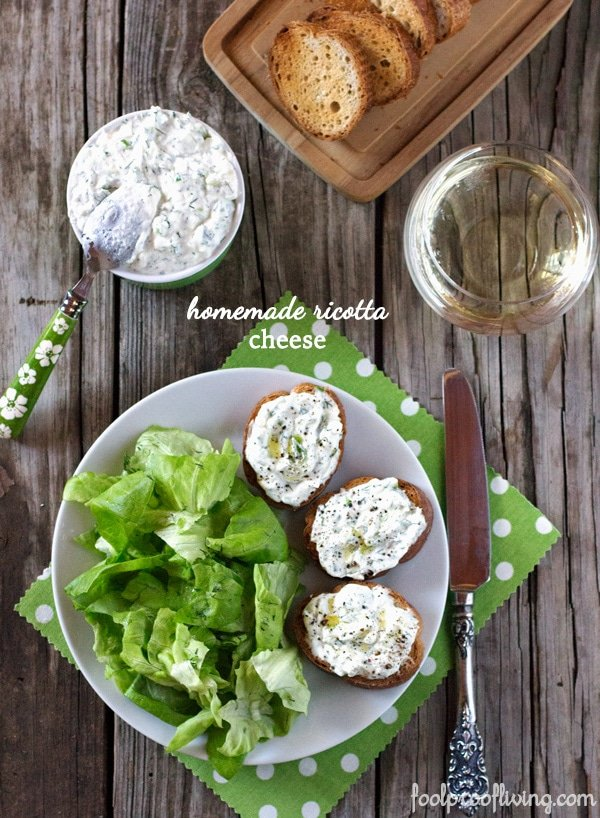 Homemade Ricotta Cheese spread on sliced bread