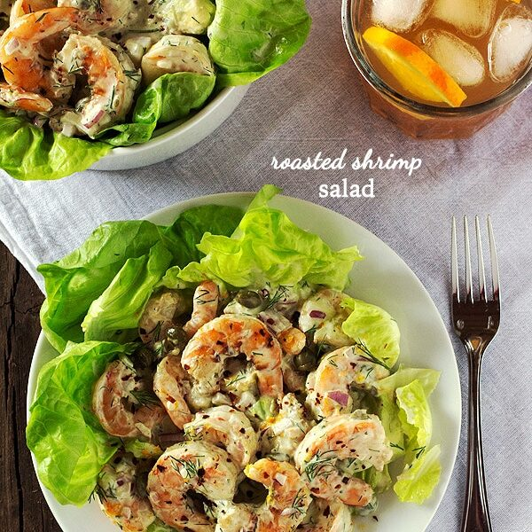 Roasted Shrimp Salad with a beverage in the background