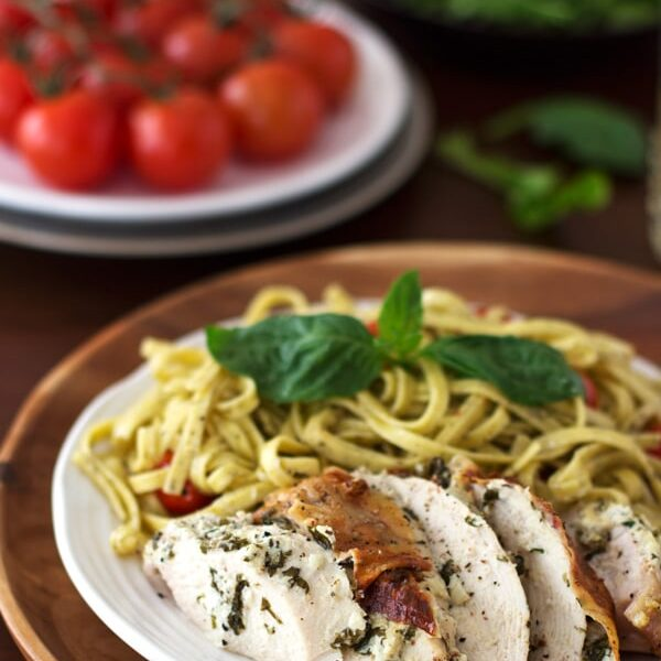 Plate of chicken with basil and herbed goat cheese