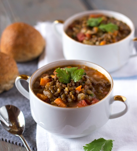 A vegetarian French Lentil Soup recipe made with homemade stock and French du Puy lentils.