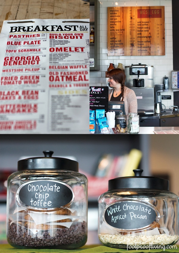 West Egg cafe menu; woman behind coffee bar; 2 jars of ground coffee
