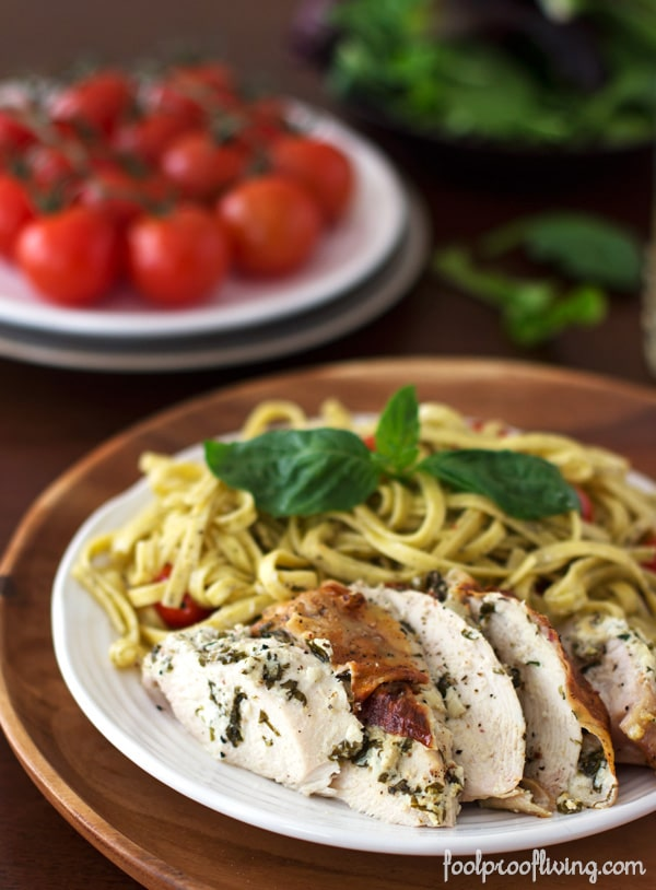 Chicken with Basil and Herbed Goat Cheese with pasta