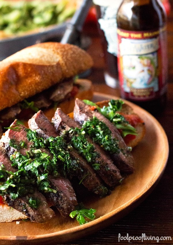 Sliced Steak for Chimichurri Sandwich on a platter