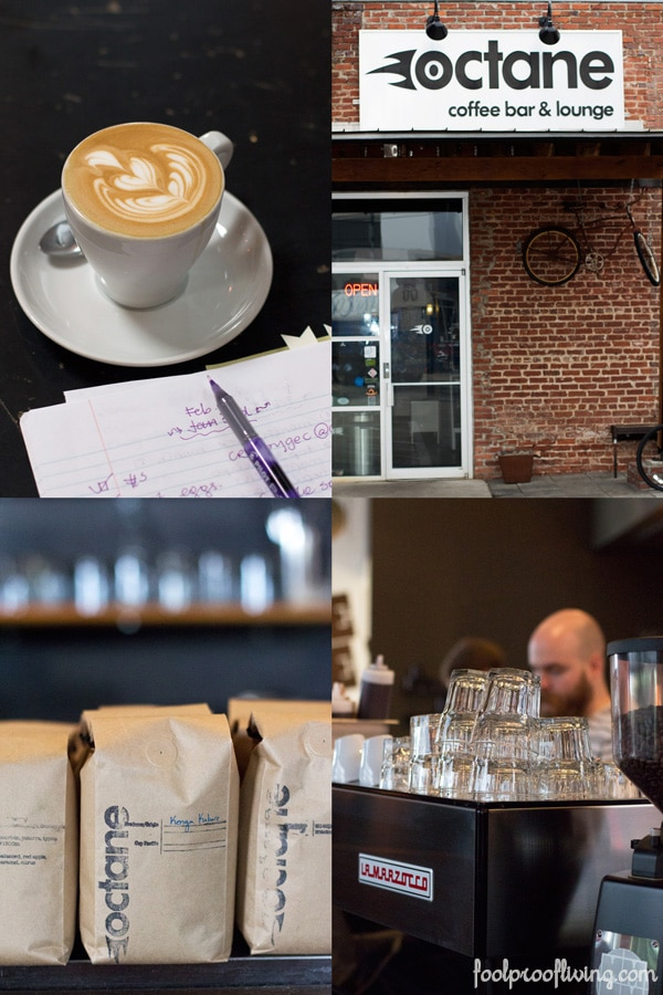 Cup of coffee; signage for restaurant, Octane,; bags of coffee; man setting up bar