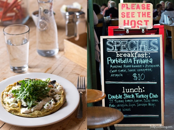 West Egg's Portobello Frittata on a plate; signage featuring mushroom frittata