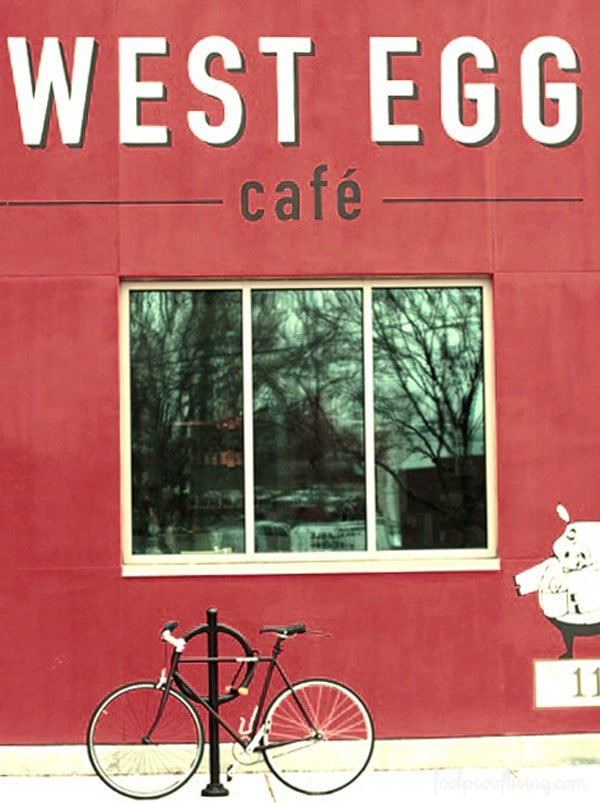 Outdoor signage for West Egg restaurant