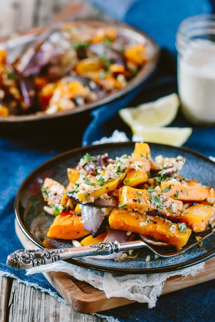 Roasted Butternut Squash Salad with Bulgur and Tahini Dressing: An easy to make salad that is inspired by Middle Eastern flavors.