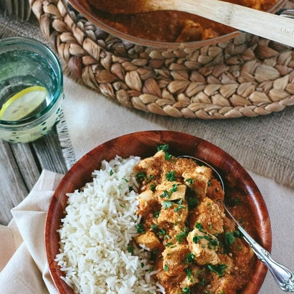 Bowl of Chicken Curry with Gentle Spices in a bowl and spoon