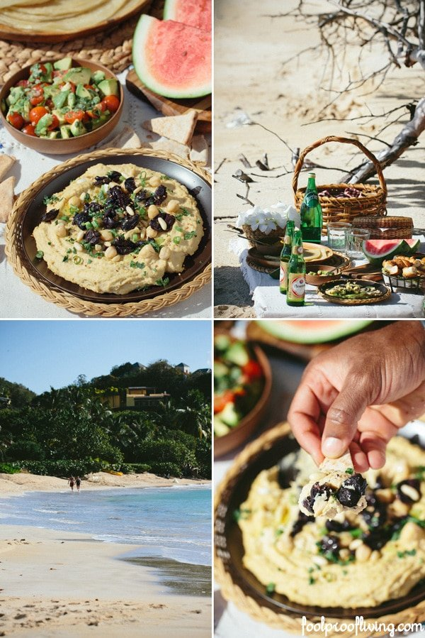 Homemade Mediterranean Hummus recipe served on a beach in a picnic scene with multiple images
