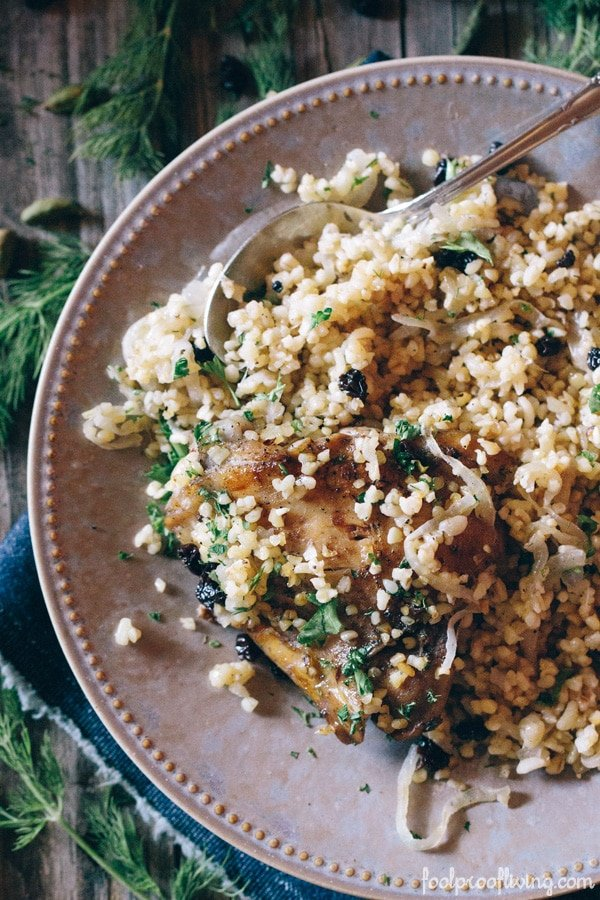 One-Pot Chicken with Cardamom Bulgur