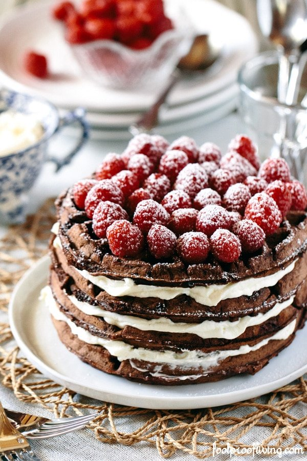 Dark Chocolate Waffle Cake with Mascarpone Whipped Cream - Foolproof ...