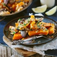 Roasted Butternut Squash Salad with Bulgur and Tahini Dressing
